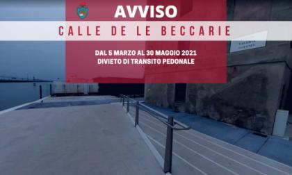 Divieto di transito in calle De le Beccarie dal 5 marzo al 30 maggio 2021